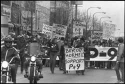 Striking Hormel workers on April 10, 1986