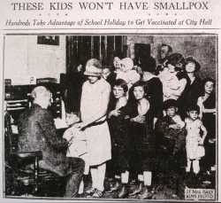 Black and white image of <em>St.Paul Daily News</em> about children getting vaccinated. November 6, 1924.