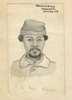 Scan of a drawing of Joseph Godfrey, 1862. Drawing by Robert O. Sweeny