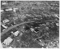 Aerial view of Fridley tornado damage