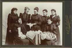 Photograph of Sybil Carter and Indian lace makers at Leech Lake, ca. 1896.