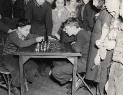 Black and white photograph of a chess game at the Jewish Educational Center, Saint Paul c.1930.