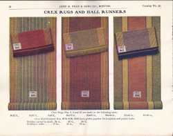Color illustration of three styles of rug manufactured by the Crex Carpet Company.