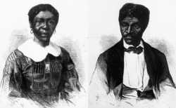 Black-and-white engravings of Dred Scott (at right) and Harriet Robinson Scott (at left) that appeared in the Jun 27, 1857 edition of Frank Leslie's Illustrated Newspaper.