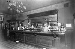Photograph of the interior of Fred Ambs's saloon, ca. 1890s.