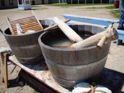 Washing tubs, boards, and dolly pins at Historic Fort Snelling