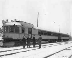 Black and white photograph of a Luce Line passenger train to Lake Lillian. Image is from the Lake Lillian News, ca. 1930–1939.