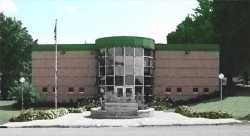 A watercolor image image of the front of the Carver County Historical Society building. 2008. Rights held by the CCHS.