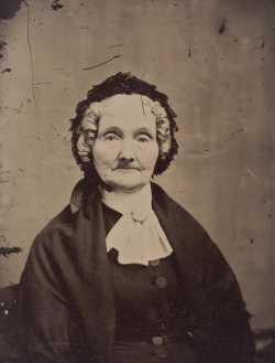 Black and white tintype photograph of Elizabeth Ayer, c.1870.
