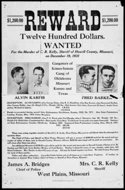 Reward poster for Alvin Karpis and Fred Barker