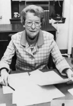 Black and white photograph of Helen E. (Davis) McMillan of Austin, ca. 1972.