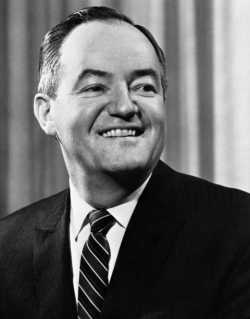 Black and white photograph of Hubert Humphrey, c.1968.