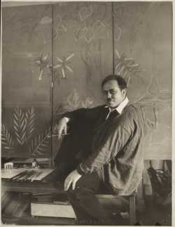 Black and white photograph of Clement Haupers in his studio, c.1930.