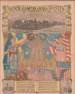 "A color page of Svenska Amerikanska Posten from the ""Sångarfäst=Nummer"" edition from July 21, 1903."