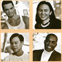 Images from a poster used by Minnesota Men of Color, ca. 2000. The organization's founders, Nick Metcalf and Edd Lee, are pictured at the top right and bottom left. Photographs by Chuck Smith.