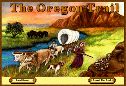 Screenshot from opening menu of Oregon Trail for Windows, 1995.