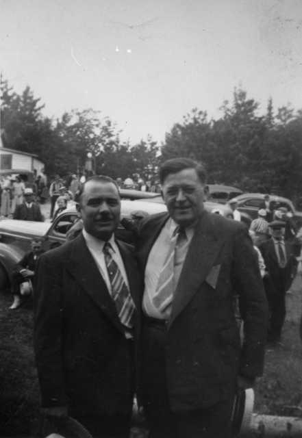 Black and white photograph of Elmer Benson and John T. Bernard at Mesaba Co-op Park, 1940.