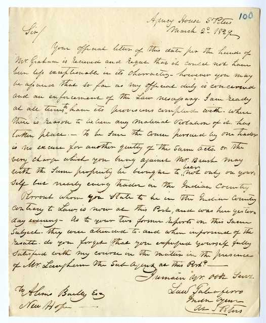 Letter from Lawrence Taliaferro to Alexis Bailly, March 2, 1829