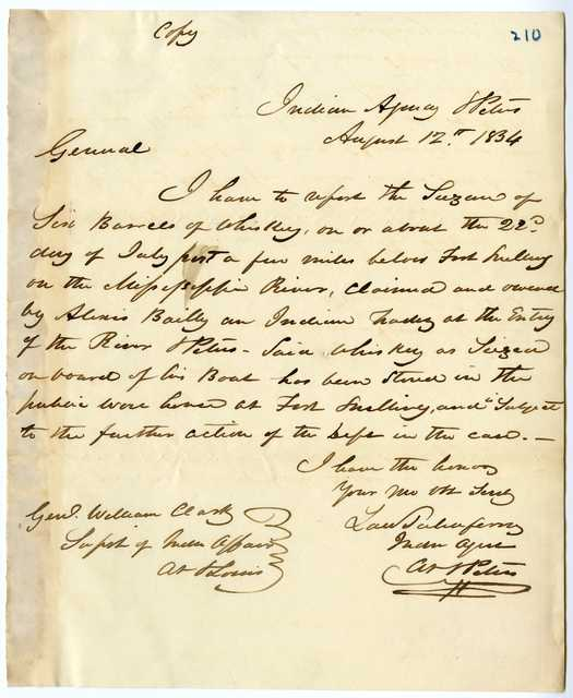 Letter from Lawrence Taliaferro to William Clark, August 12, 1834