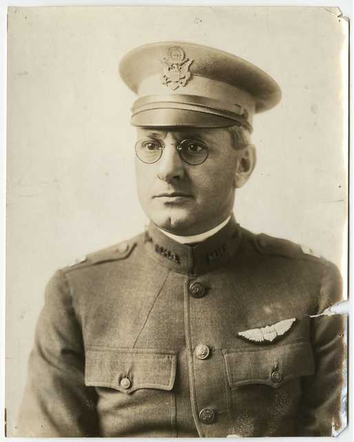 Black and white photograph of Captain John P. Ernster, c.1918. Ernster commanded the Aero Division of the Minnesota Motor Corps.
