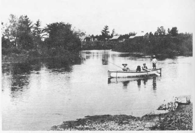 Fishing at Norway Brook above dam, 1910s