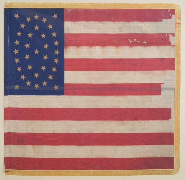 Color image of Eleventh Minnesota national battle flag.