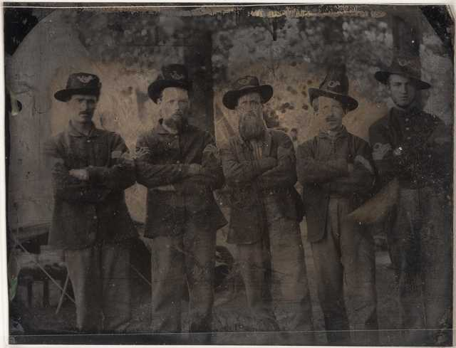 Members of the 3rd Minnesota Regiment, Company F in camp at Nashville, Tennessee