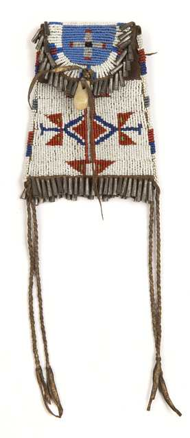 Color image of a Dakota leather pouch with lane-stitched geometric beadwork made in the nineteenth century.