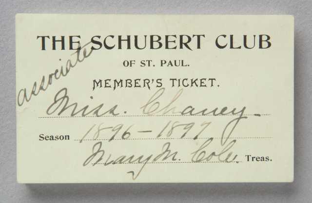 Schubert Club member's ticket