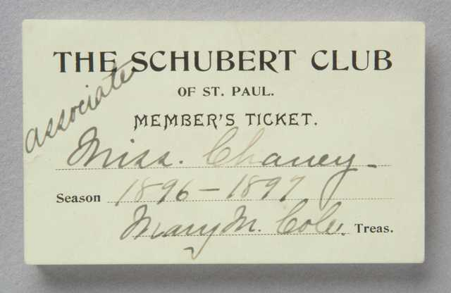 Schubert Club member's ticket
