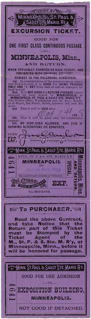 Soo Line Railway passenger ticket