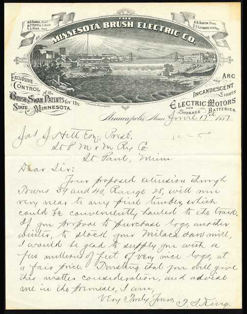 Minnesota Brush Electric Company letterhead, 1887