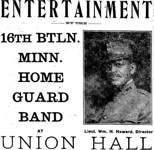 An advertisement for a concert put on by the Sixteenth Battalion Band from the St. Paul Appeal, October 25, 1919. The band was led by Lieutenant William Howard.