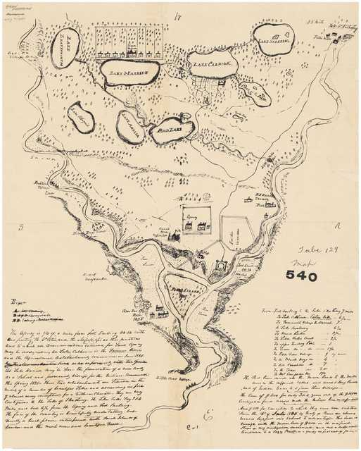 Hand-drawn map of Fort Snelling area