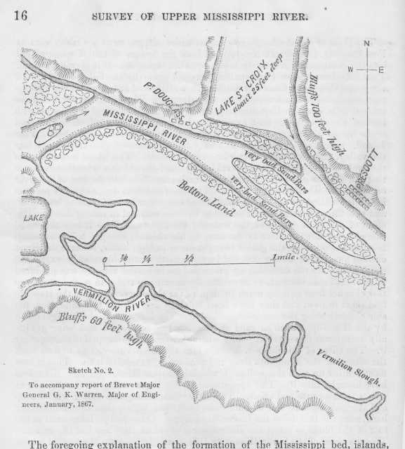 Survey of the confluence of the St. Croix and Mississippi Rivers at Point Douglas in Survey of Upper Mississippi River (page 16).