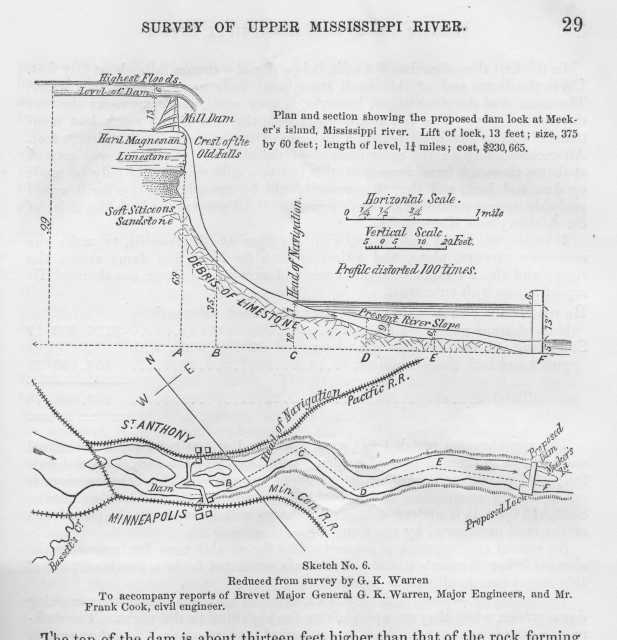 Plan and section of St. Anthony Falls in Survey of Upper Mississippi River (page 29).
