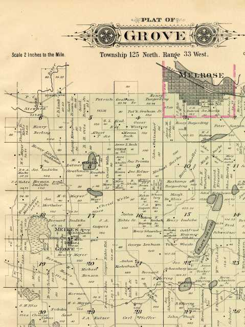 Color image of 1896 plat map of Grove Township in Stearns County.