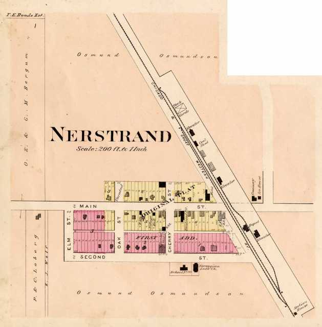 Map of Nerstrand, 1900. From the 1900 Rice County plat book.