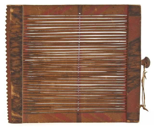 Color image of a Dakota loom frame or heddle with wooden bars, early-to-mid 1800s.