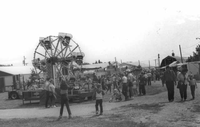 Black and white photograph of the Murray County Fairgrounds, 1980s