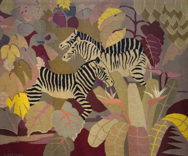 Zebra Tapestry, 1928. Tapestry by Clara Mairs.