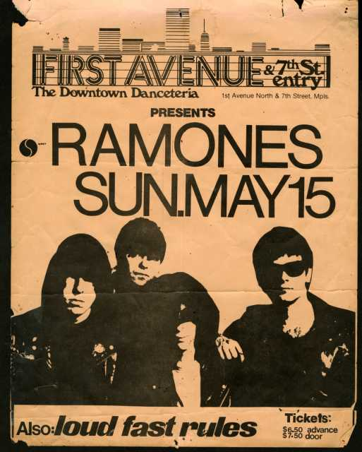 Handbill for Ramones concert, with opening act Loud Fast Rules (later Soul Asylum), at First Avenue, May 15, 1983. Courtesy of Dale T. Nelson.