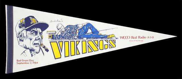 "Color image of a felt pennant celebrating ""Bud Grant Day"", September 2, 1984."