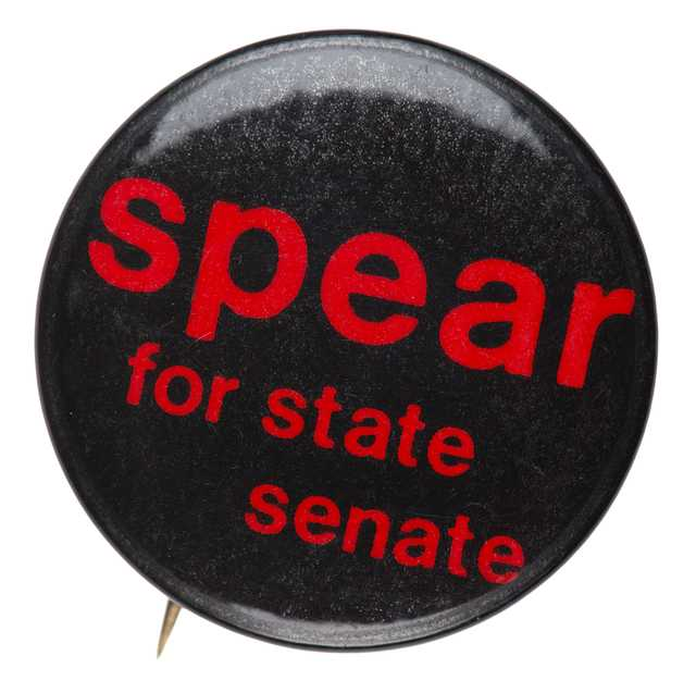 Color image of a pinback button used to promote the candidacy of Senator Allan Spear, ca. late 1970s to early 1980s.