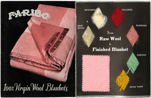 Color image if Faribault Woolen Mill Company textile sample book, c.1935.
