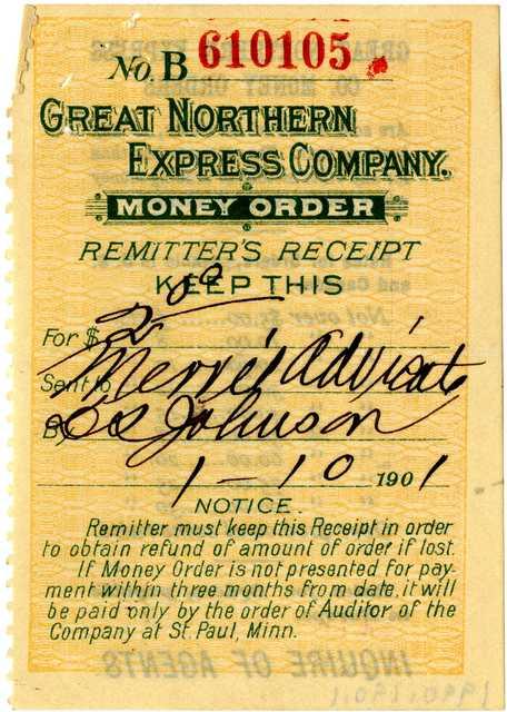 Great Northern Railway Company money order receipt