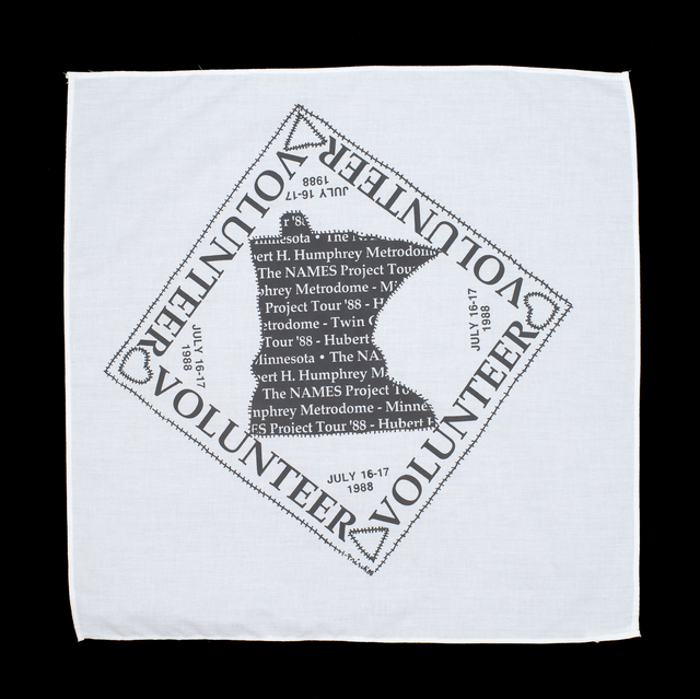 Color image of a cotton handkerchief given to volunteers at the NAMES Project tour stop in Minneapolis, Minnesota, 1988.