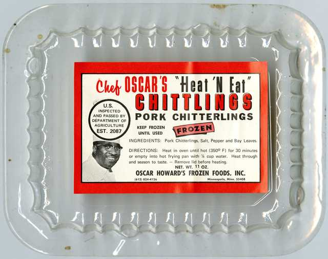 Plastic container for frozen pork chittlings, marketed and sold from the late 1960s to 1970s by Oscar C. Howard under the Chef Oscar brand.