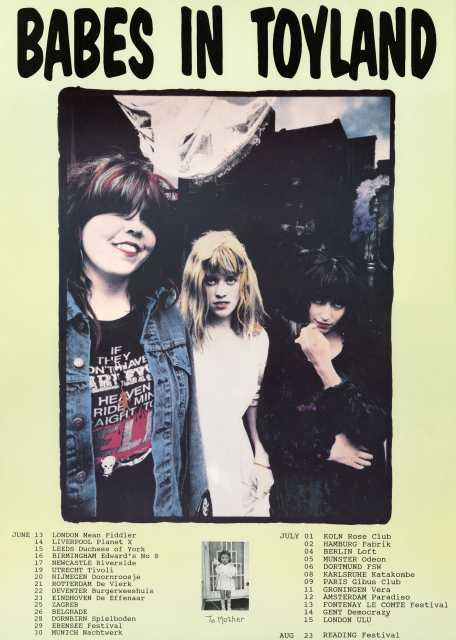 Poster with a list of the performance dates on Babes in Toyland's 1991 European tour. Pictured are (left to right): Lori Barbero, Kat Bjelland, and Michelle Leon.