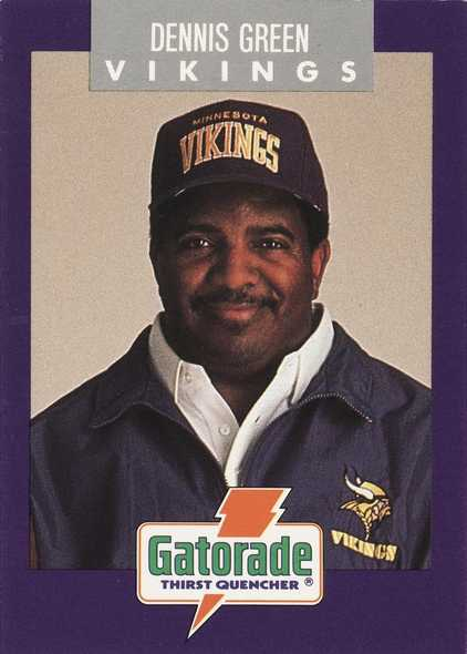 Color image of Minnesota Vikings crime prevention trading card of head coach Dennis Green, 1992.